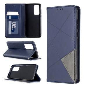 Voor Huawei P40 Rhombus Texture Horizontal Flip Magnetic Leather Case met Holder & Card Slots & Wallet(Blue)