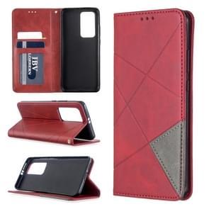Voor Huawei P40 Pro Rhombus Texture Horizontal Flip Magnetic Leather Case met Holder & Card Slots & Wallet(Red)