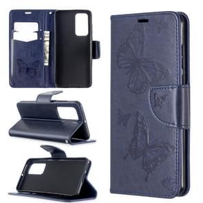 Voor Huawei P40 Two Butterflies Embossing Pattern Horizontal Flip Leather Case met Holder & Card Slot & Wallet & Lanyard(Dark Blue)