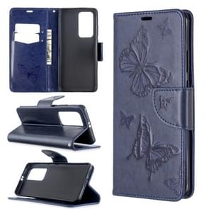 Voor Huawei P40 Pro Two Butterflies Embossing Pattern Horizontal Flip Leather Case met Holder & Card Slot & Wallet & Lanyard(Dark Blue)
