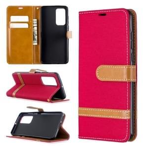 Voor Huawei P40 Color Matching Denim Texture Horizontal Flip Leather Case met Holder & Card Slots & Wallet & Lanyard(Red)