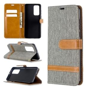 For Huawei P40 Color Matching Denim Texture Horizontal Flip Leather Case with Holder & Card Slots & Wallet & Lanyard(Grey)