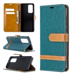 Voor Huawei P40 Color Matching Denim Texture Horizontal Flip Leather Case met Holder & Card Slots & Wallet & Lanyard(Groen)