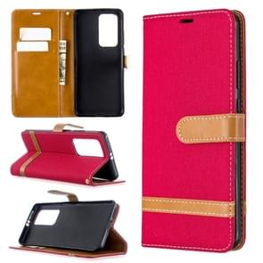 Voor Huawei P40 Pro Color Matching Denim Texture Horizontal Flip Leather Case met Holder & Card Slots & Wallet & Lanyard(Red)