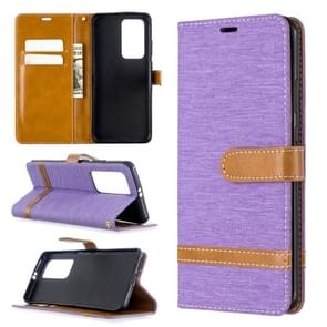 Voor Huawei P40 Pro Color Matching Denim Texture Horizontal Flip Leather Case met Holder & Card Slots & Wallet & Lanyard(Purple)