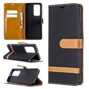Voor Huawei P40 Pro Color Matching Denim Texture Horizontal Flip Leather Case met Holder & Card Slots & Wallet & Lanyard(Black)