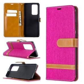 Voor Huawei P40 Pro Color Matching Denim Texture Horizontal Flip Leather Case met Holder & Card Slots & Wallet & Lanyard(Rose Red)