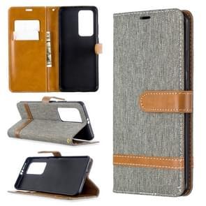 Voor Huawei P40 Pro Color Matching Denim Texture Horizontal Flip Leather Case met Holder & Card Slots & Wallet & Lanyard(Grijs)