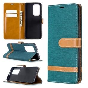 Voor Huawei P40 Pro Color Matching Denim Texture Horizontal Flip Leather Case met Holder & Card Slots & Wallet & Lanyard(Groen)