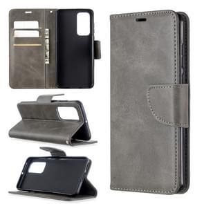 Voor Huawei P40 Retro Lambskin Texture Pure Color Horizontal Flip PU Leather Case met Holder & Card Slots & Wallet & Lanyard(Grijs)