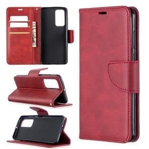 Voor Huawei P40 Retro Lambskin Texture Pure Color Horizontal Flip PU Leather Case met Holder & Card Slots & Wallet & Lanyard(Red)