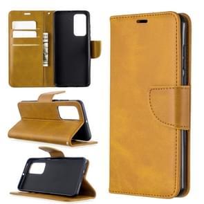 Voor Huawei P40 Retro Lambskin Texture Pure Color Horizontal Flip PU Leather Case met Holder & Card Slots & Wallet & Lanyard(Geel)