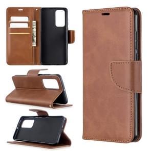 Voor Huawei P40 Retro Lambskin Texture Pure Color Horizontal Flip PU Leather Case met Holder & Card Slots & Wallet & Lanyard(Brown)