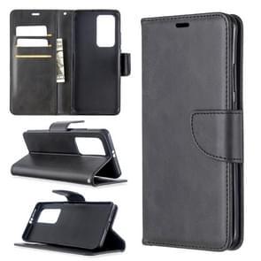 Voor Huawei P40 Pro Retro Lambskin Texture Pure Color Horizontal Flip PU Leather Case met Holder & Card Slots & Wallet & Lanyard(Black)