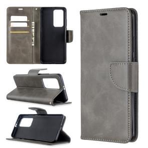 Voor Huawei P40 Pro Retro Lambskin Texture Pure Color Horizontal Flip PU Leather Case met Holder & Card Slots & Wallet & Lanyard(Grey)