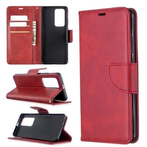 For Huawei P40 Pro Retro Lambskin Texture Pure Color Horizontal Flip PU Leather Case with Holder & Card Slots & Wallet & Lanyard(Red)