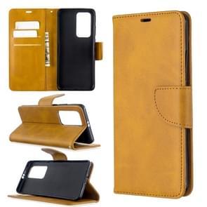 Voor Huawei P40 Pro Retro Lambskin Texture Pure Color Horizontal Flip PU Leather Case met Holder & Card Slots & Wallet & Lanyard(Geel)