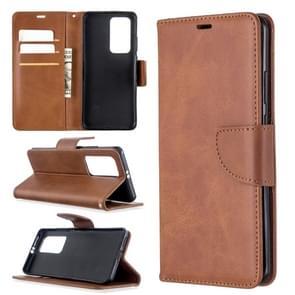 Voor Huawei P40 Pro Retro Lambskin Texture Pure Color Horizontal Flip PU Leather Case met Holder & Card Slots & Wallet & Lanyard(Brown)