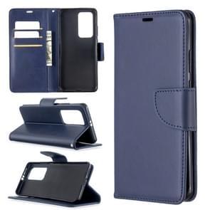 Voor Huawei P40 Pro Retro Lambskin Texture Pure Color Horizontal Flip PU Leather Case met Holder & Card Slots & Wallet & Lanyard(Blue)