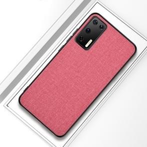 Voor Huawei P40 Shockproof Cloth Texture PC + TPU Beschermhoes (Modern Pink)