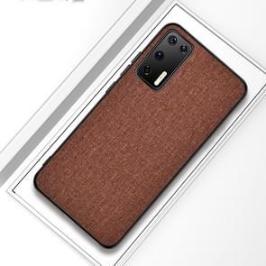 Voor Huawei P40 Shockproof Cloth Texture PC + TPU Beschermhoes (Bruin)