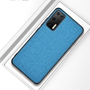 Voor Huawei P40 Shockproof Cloth Texture PC + TPU Beschermhoes (Blauw)