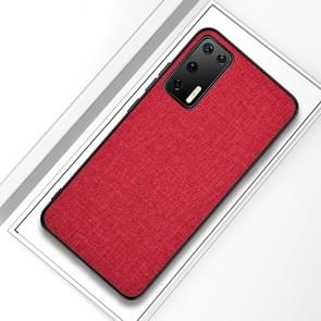Voor Huawei P40 Shockproof Cloth Texture PC + TPU Beschermhoes (Rood)