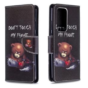 Voor Huawei P40 Pro Gekleurd tekenpatroon Horizontaal Flip Lederen Hoes met Houder & Card Slots & Wallet(Bear)
