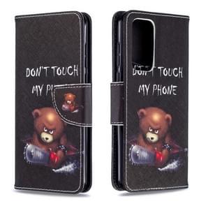 Voor Huawei P40 Gekleurd tekenpatroon Horizontaal Flip Lederen Hoes met Houder & Card Slots & Wallet(Bear)