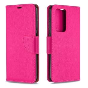 Voor Huawei P40 Pro Litchi Texture Pure Color Horizontal Flip PU Leather Case met Holder & Card Slots & Wallet & Lanyard(Rose Red)