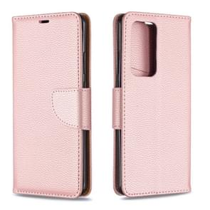 Voor Huawei P40 Pro Litchi Texture Pure Color Horizontal Flip PU Leather Case met Holder & Card Slots & Wallet & Lanyard(Rose Gold)