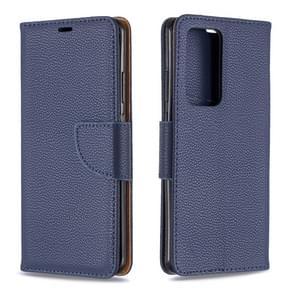Voor Huawei P40 Pro Litchi Texture Pure Color Horizontal Flip PU Leather Case met Holder & Card Slots & Wallet & Lanyard(Dark Blue)