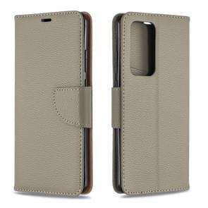 Voor Huawei P40 Pro Litchi Texture Pure Color Horizontal Flip PU Leather Case met Holder & Card Slots & Wallet & Lanyard(Grijs)
