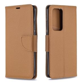 Voor Huawei P40 Pro Litchi Texture Pure Color Horizontal Flip PU Leather Case met Holder & Card Slots & Wallet & Lanyard(Brown)