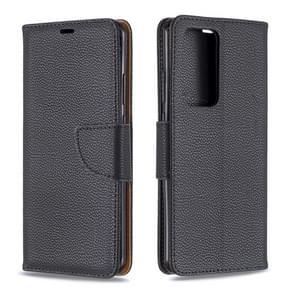 Voor Huawei P40 Pro Litchi Texture Pure Color Horizontal Flip PU Leather Case met Holder & Card Slots & Wallet & Lanyard(Black)