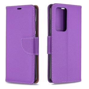 Voor Huawei P40 Pro Litchi Texture Pure Color Horizontal Flip PU Leather Case met Holder & Card Slots & Wallet & Lanyard(Purple)