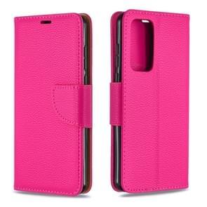 Voor Huawei P40 Litchi Texture Pure Color Horizontal Flip PU Leather Case met Holder & Card Slots & Wallet & Lanyard(Rose Red)