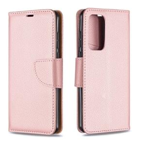 Voor Huawei P40 Litchi Texture Pure Color Horizontal Flip PU Leather Case met Holder & Card Slots & Wallet & Lanyard(Rose Gold)