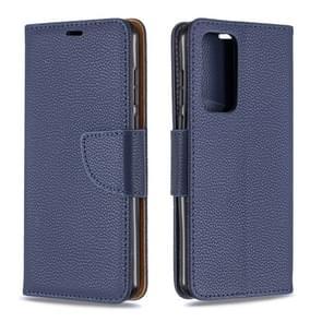 Voor Huawei P40 Litchi Texture Pure Color Horizontal Flip PU Leather Case met Holder & Card Slots & Wallet & Lanyard(Dark Blue)