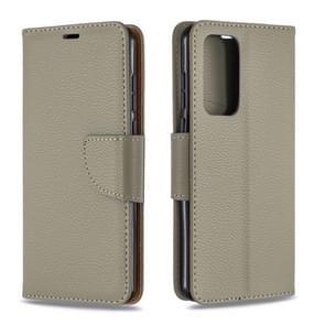 Voor Huawei P40 Litchi Texture Pure Color Horizontal Flip PU Leather Case met Holder & Card Slots & Wallet & Lanyard(Grijs)