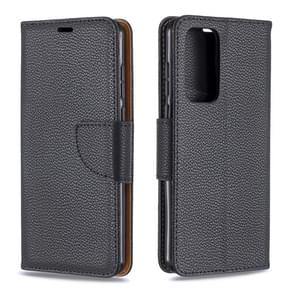 Voor Huawei P40 Litchi Texture Pure Color Horizontal Flip PU Leather Case met Holder & Card Slots & Wallet & Lanyard(Black)