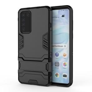 Voor Huawei P40 PC + TPU Shockproof Beschermhoes met houder (zwart)