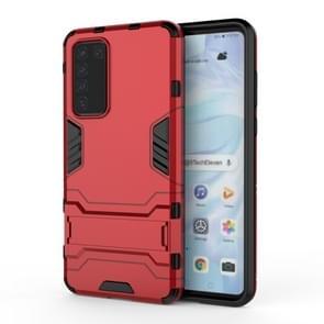 Voor Huawei P40 PC + TPU Shockproof Beschermhoes met houder (rood)