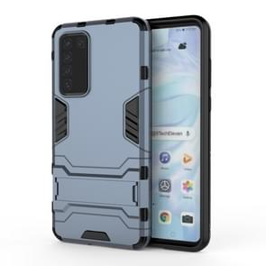 Voor Huawei P40 PC + TPU Shockproof Beschermhoes met houder (Navy Blue)