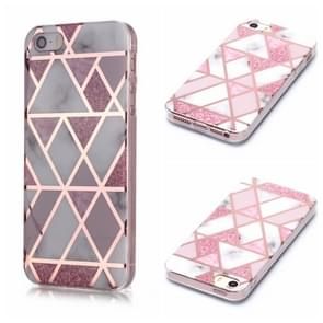 Voor iPhone 5 & 5s & SE Plating Marble Pattern Soft TPU Protective Case(Pink)