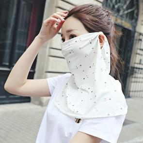 Zomer Outdoor Bloemen Ijs Zijde Zonneschaduw Gezichtsmasker Zon-proof Sjaal (Wit)