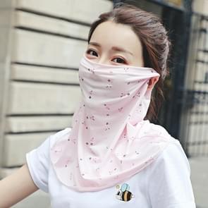 Zomer Outdoor Bloemen ijs zijde zonneschaduw gezichtsmasker zon-proof sjaal (roze)