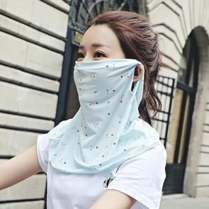 Zomer Outdoor Bloemen ijs zijde zonneschaduw gezichtsmasker zon-proof sjaal (Blauw)