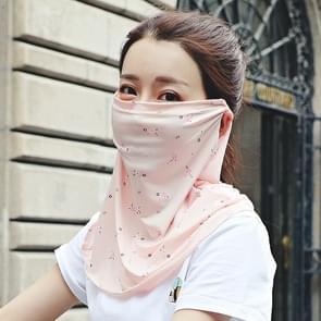 Zomer Outdoor Bloemen ijs zijde zonneschaduw gezichtsmasker zon-proof sjaal (Flesh Color)