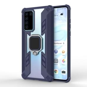 Voor Huawei P40 Shockproof PC + TPU beschermhoes met ringhouder (Navy Blue)